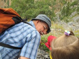 Uncle Stewart gives a botany lesson to young family members, 2012.