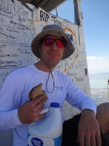 Eating a turnip sandwich and drinking water from an old bleach bottle at the summit of Timpanogos, in memory of Uncle Stewart.